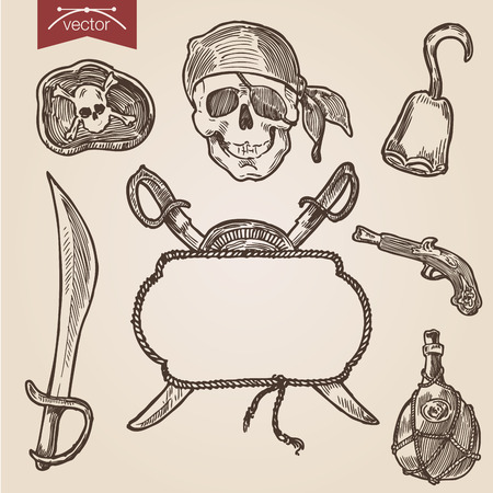 attributes: Pirate objects and attributes. Handdrawn engraving style vector. Illustration