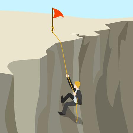 trabajando duro: El logro de metas concepto de negocio plana 3d web isométrica vectorial infografía. Hombre de negocios sube en cuerda de abismo en el nuevo horizonte superior. Colección de la gente creativa.