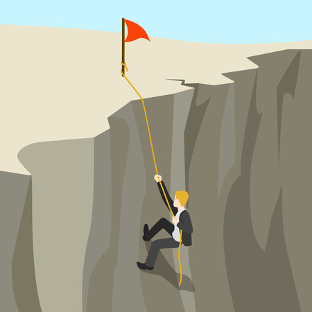 goal achievement: Goal achievement business concept flat 3d web isometric infographic vector. Businessman climbs on rope from abyss to the top new horizon. Creative people collection.