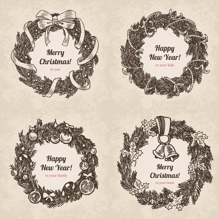 lapiz y papel: Conjunto de la mano de la guirnalda dibujada. Postal feliz Año Nuevo y Feliz Navidad estilo dibujado a mano grabado, cartel, Modelo de la bandera. Lápiz y papel lápiz de dibujo vectorial ilustración retro lineas de la vendimia. Vectores