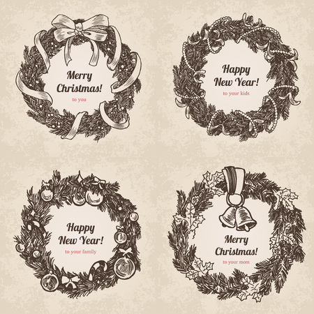 pencil and paper: Hand drawn wreath holiday set. Happy New Year and Merry Christmas handdrawn engraving style postcard, poster, banner template. Pen and pencil paper drawing retro vintage vector lineart illustration.