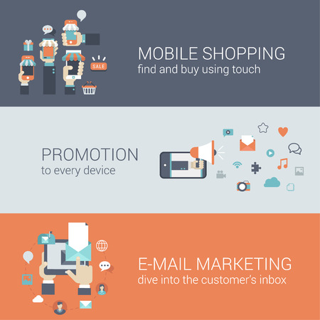 Flat style mobile e-commerce promotion infographic concept. Smart phone online internet store sale shopping tablet promotion email marketing web site icon banners templates set. Template for parallax.