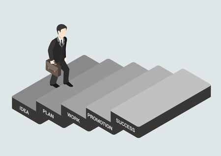 stepping: Business concept steps to succeed flat 3d web isometric infographic vector. Businessman stepping idea, plan, work, promotion, success blocks. Creative people collection.