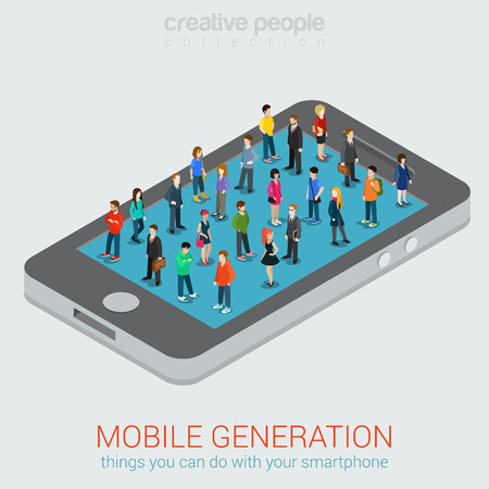 people standing: Mobile generation micro people isometric concept