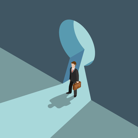 web solution: Business solution concept flat 3d web isometric infographic vector. Businessman standing on big keyhole doorway over shadow. Creative people collection.