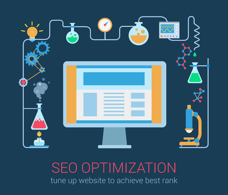 seo process: Flat modern style SEO optimization magic chemistry process desktop computer interface window objects template. Abstract chemical science reaction in connection with computer technology.
