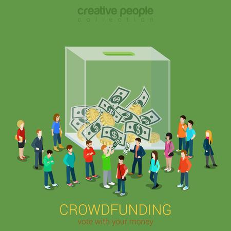 비즈니스 아이디어 크라우드 펀딩 자원 봉사 개념 평면 3D 아이소 메트릭 일러스트