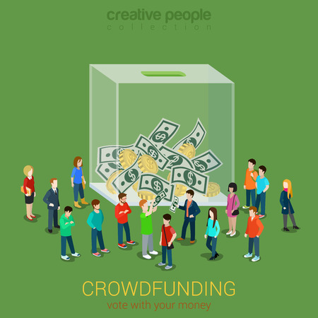 crowd people: Business idea crowdfunding volunteer concept flat 3d isometric