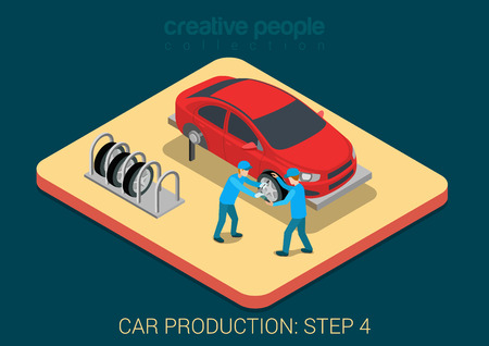 Car production plant process step 4 tires assembly flat 3d isometric infographic concept vector illustration. Factory workers tie wheels with vehicle body assembly shop. Build creative people world. 일러스트
