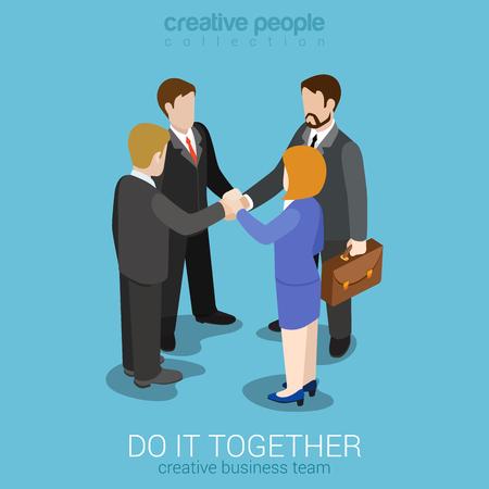 obrero caricatura: Fuerte equipo de trabajo en equipo uni�n plana 3d web isom�trica plantilla vector de concepto de trabajo de negocios infograf�a. Cuatro empresarios unen sus manos para hacer un trato. Colecci�n de la gente creativa.
