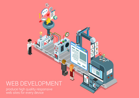 web development: Process web development site production plant concept flat 3d isometric icon collage composition template. Conveyor transporter website responsive interface creation. Vector web banner illustration.