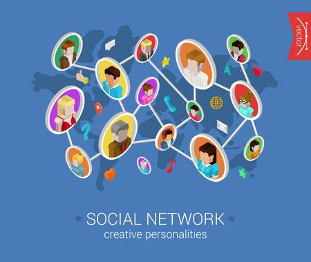 通訊: 創意社交網絡扁平3D等距像素藝術現代設計理念載體。人們型材連接世界上的社交媒體圖標的地圖。網頁橫幅插圖網站點擊信息圖表。