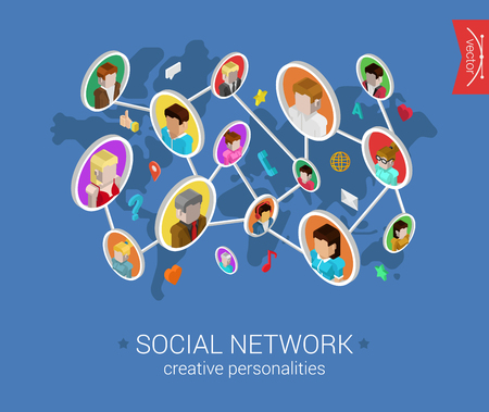 communications: Creative social network flat 3d isometric pixel art modern design concept vector. People profiles connected on world map with social media icons. Web banners illustration website click infographics.