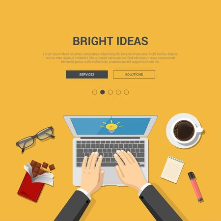 bright ideas: Flat design mockup template for bright ideas workplace topview
