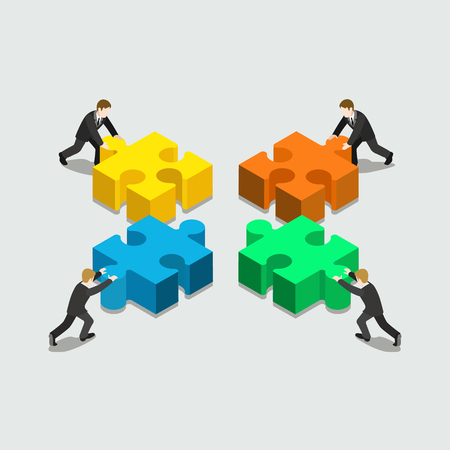 Business solution in partnership concept flat 3d web isometric infographic vector. Four businessmen pushing pieces of puzzle. Creative people collection. Çizim