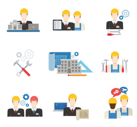 cartoon engineer: Architects, engineers and construction workers flat icon set Illustration