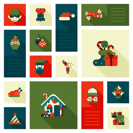 hat cap: Christmas New Year icon set flat style decorations. Elf hat cap sock gift present sweet candy deer reindeer house turkey head bell. Collection of holiday icons web element infographics print template.