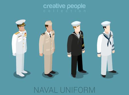 marinero: Militares navales en uniforme plana isométrica 3d juego de avatar perfil de usuario icono de ilustración vectorial conjunto. Oficial de la marina marinero NCIS flota. Colección de la gente creativa. Construye tu propio mundo.