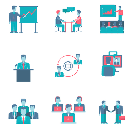 conference call: Flat style business people figures infographics user interface icons set presentation report speech chat negotiations video conference call team partnership isolated vector illustration collection.