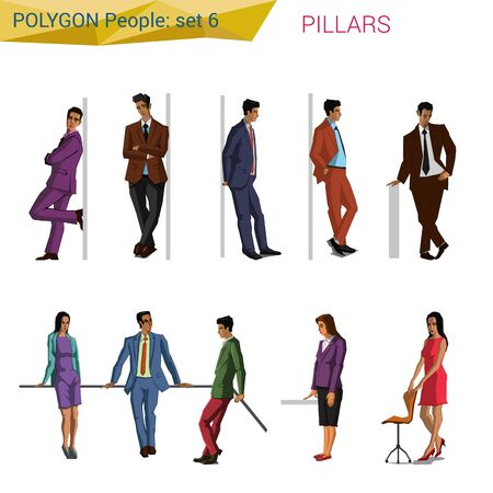 balk: Polygonal style people at pillar set. Polygon people collection. Illustration