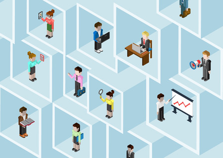 Flat 3d isometric business people professional diversity web infographic concept vector. Different professions businessman businesswoman in square room slots wall. Secretary, manager, bookkeeper etc. Vettoriali