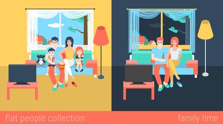 Set von Familie Paar Kinder Kindern im Wohnzimmer Eltern fernsehen. Flache Leute Lifestyle-Situation Familienfreizeitkonzept. Vector illustration Sammlung von jungen kreativen Menschen. Vektorgrafik