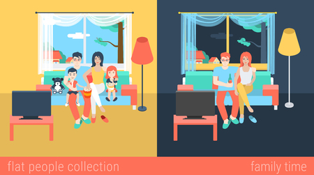 Set of family couple kids children in living room parenting watch TV. Flat people lifestyle situation family leisure time concept. Vector illustration collection of young creative humans.