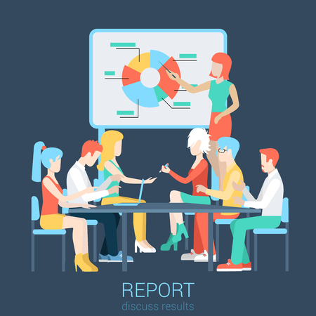 woman boss: Flat business report, meeting, skull session, council, presentation, get-together, palaver web infographic concept vector. Group of character people table, boss in center income graphic blackboard.