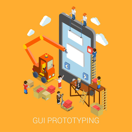 Flat 3d isometric mobile GUI interface prototyping web development infographic concept vector. Crane people creating interface on phone tablet. UI/UX, usability, mockup, wireframe development concept. Vettoriali