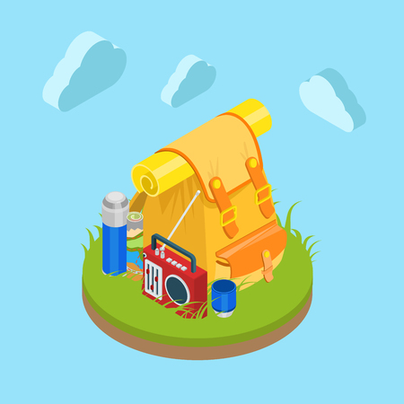 grassy field: Flat 3d isometric outdoor travel backpack on grassy lawn field. Bag radio map cup thermos. Tourism collection.