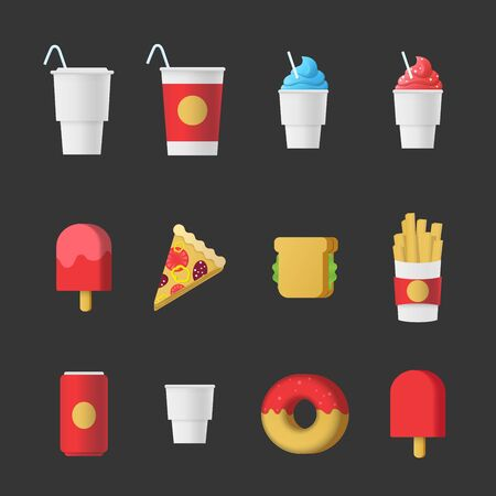 fried: Fast food sweet dessert beverage modern stylish fancy icon set. Restaurant cafe bar menu template web infographics style vector concept. Cola soda ice cream pizza sandwich fried potato coffee donut.