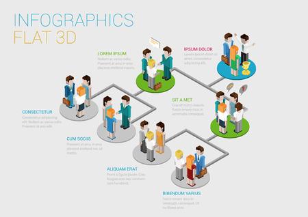 grupos de personas: Piso 3d concepto infografía isométrica del modelo de estructura de diagrama concepto vector web corporativa equipo del departamento de la empresa. pedestales de plataformas conectadas a grupos de personas de negocios. Organigrama. Vectores