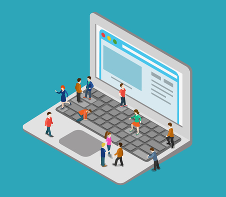 people laptop: Flat 3d web isometric little people on huge oversize laptop infographic concept vector. Mini human pressing big computer button keys, surf browsing webpage. Creative people collection. Illustration