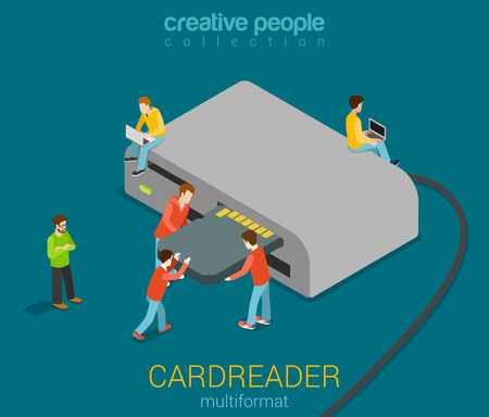 card reader: Micro people stick SD card into USB card reader modern vector illustration. Flat 3d isometric technology equipment multiformat accessory collection. Build your own creative people world. Illustration