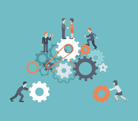 resources: Flat style modern teamwork, workforce staff infographic concept. Conceptual web illustration of business people on cog wheels. Corporate company ladder of success leadership, human resource management