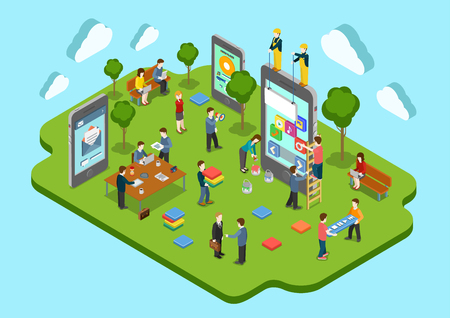 Mobile application development company concept flat 3d web isometric infographic vector. Process of different app creation, uiux design, projecting, scheduling, promotion. Creative people collection.