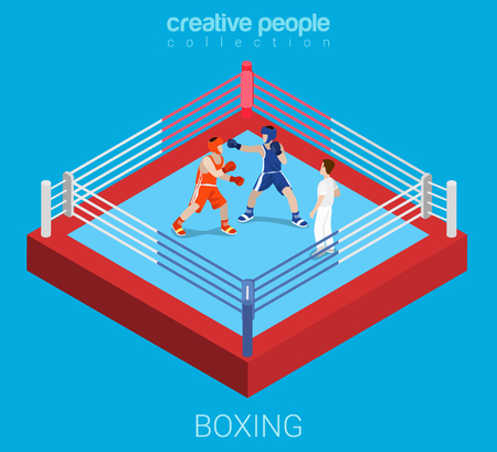Boxing ring professional championship competition fight. Sport modern lifestyle flat 3d web isometric infographic vector. Creative sportsmen people collection.