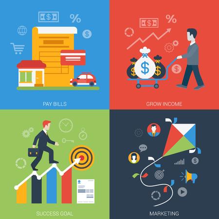 metas: Estilo Flat banner web moderno icono empresarial conjunto en línea. Pagar cuentas crecen collage éxito de marketing meta de ingresos. Website clic colección infogaphics elementos.