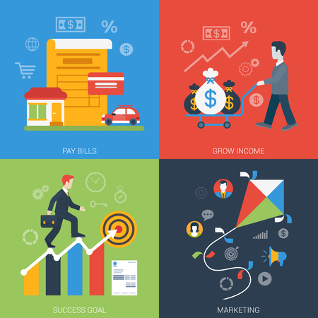 goals: Flat style web banner modern online business icon set. Pay bills grow income success goal marketing collage. Website click infogaphics elements collection. Illustration