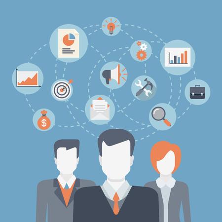 leader: Estilo Flat web moderno iconos infogr�ficas collage. Concepto de trabajo en equipo de negocios, de intercambio de ideas, el �xito de ganar el equipo de profesionales, mano de obra corporativa, departamento de la empresa, recursos humanos, la cooperaci�n del personal. Vectores