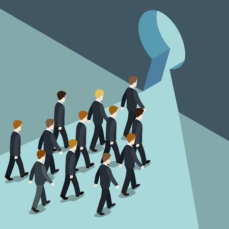 Movimiento de negocios hacia un mejor futuro concepto de solución plana 3d vector web isométrica. Los hombres de negocios va marcha al ojo de la cerradura, la salida de la crisis problema problemas. Colección de la gente creativa. Foto de archivo - 48576909