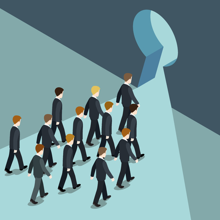 Business movement towards better future solution concept flat 3d web isometric vector. Businessmen goes march to keyhole, way out from trouble problem crisis. Creative people collection.