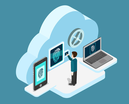 clouds: Biometric fingerprint identification internet cloud authentication flat 3d web isometric creative infographic concept vector. Security, secure data access. Touch screen tablet phone and laptop.