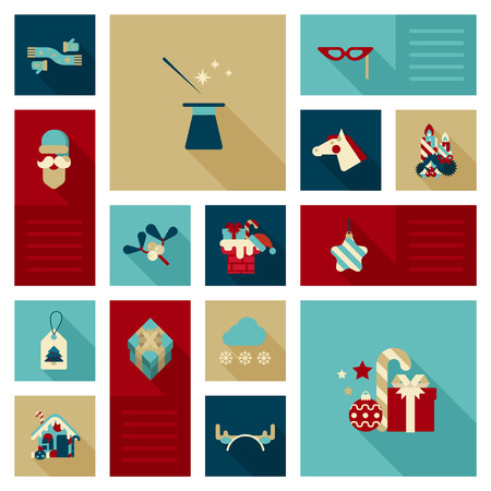 year of horse: Flat icon set Christmas, New Year, winter holidays object, item, clothes, decoration elements. Scarf, gloves, wizard hat, magic wand, masquerade mask, horse head, gifts, Santa, candy web site icon set