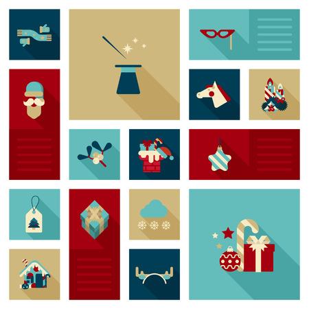 sombrero de mago: icono plana Conjunto de la Navidad, A�o Nuevo, vacaciones de invierno objeto, art�culo, ropa, elementos de decoraci�n. Bufanda, guantes, sombrero de mago, varita m�gica, mascarada m�scara, cabeza de caballo, regalos, Santa Claus, caramelos web icono del sitio conjunto