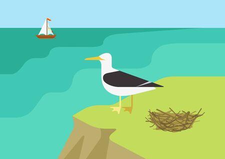 sea gull: Seagull near gull nest on the sea ocean beach flat design cartoon vector wild animals birds. Flat zoo nature children collection. Illustration