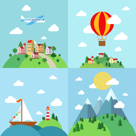 eco tourism: Set of flat outdoor vacation landscapes template. Travel by air plane, balloon, sail boat yacht, mountain hiking. Creative vector landscape collection. Illustration