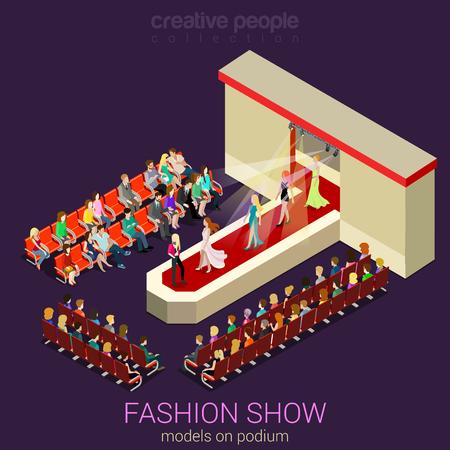 ファッションショー表彰台そくばくフラット 3次元等尺性 web インフォ グラフィック テンプレート ベクトル。新しい服ドレスと聴覚の専門家を示す