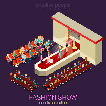 defile: Fashion show podium defile flat 3d isometric web infographic template vector. Female photo models walking on scene demonstrating new clothes dress and expert auditory. Creative people collection.