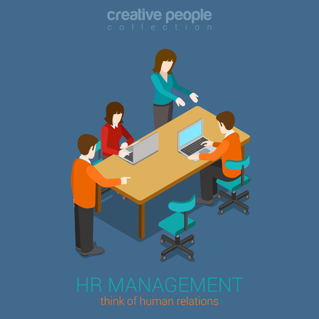 HR management, brainstorming creative people flat 3d web isometric infographic concept vector. Human relations. Teamwork around table laptop, boss, worker, manager. 일러스트